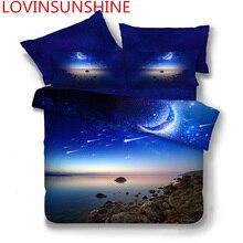 New 3D Print Galaxy Universe Bedding Set for Teen Boy Blue Starry Sky Zipper Duvet Cover Flat Sheet with 2 Pillowcases Bed Linen