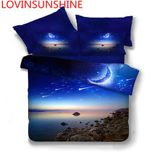 New 3D Print Galaxy Universe Bedding Set for Teen Boy Blue Starry Sky Zipper Duvet Cover Flat Sheet with 2 Pillowcases Bed Linen(China)