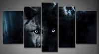 Framed Wall Art Pictures Black Wolf Full Moon Canvas Print Artwork Animal Posters With Wooden Frames For Living Room