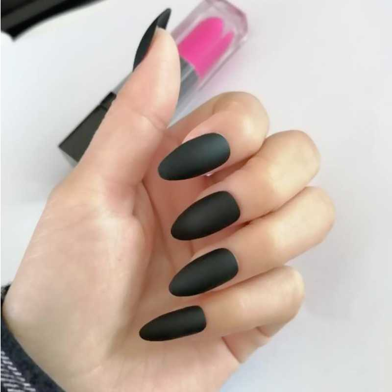 2019 24pcs frosted matte fake nails black pointed nail tips popular decorative false nails