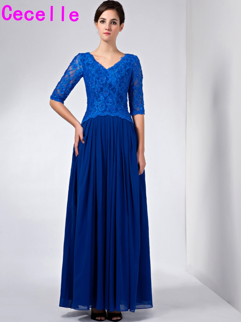 fb8907e436 Real Photos Royal Blue A-line Long Lace Chiffon Modest Simple Mother Bride  Dresses 2017 With Sleeves V Neck Mother s Dresses