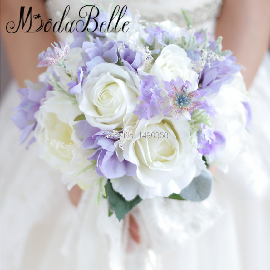 Good Buque Noiva Purple White Bridal Bouquet Artificial Waterfall Flowers Bridesmaid Romantic Handmade Pe Wedding Bouquet For Bride Wedding Bouquets Wedding Accessories