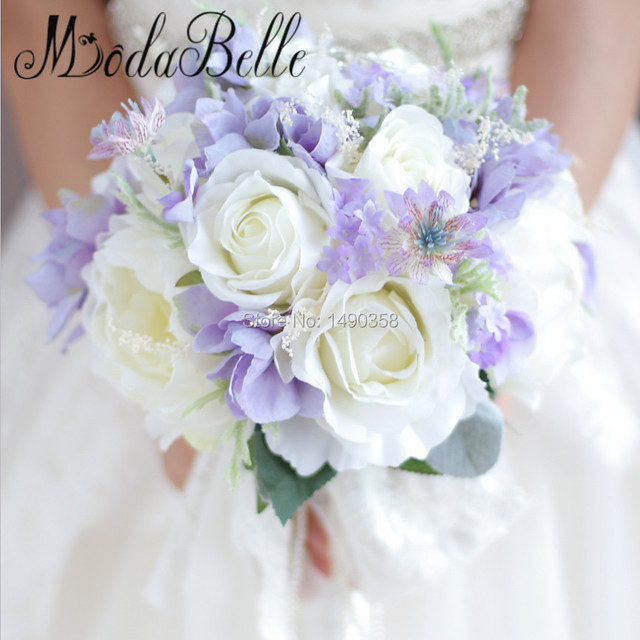 Romantic Wedding Bouquet For Brides Artificial Flower Bridal Bouquet Purple White Green Rose Peonies Buque De Broche De Noiva