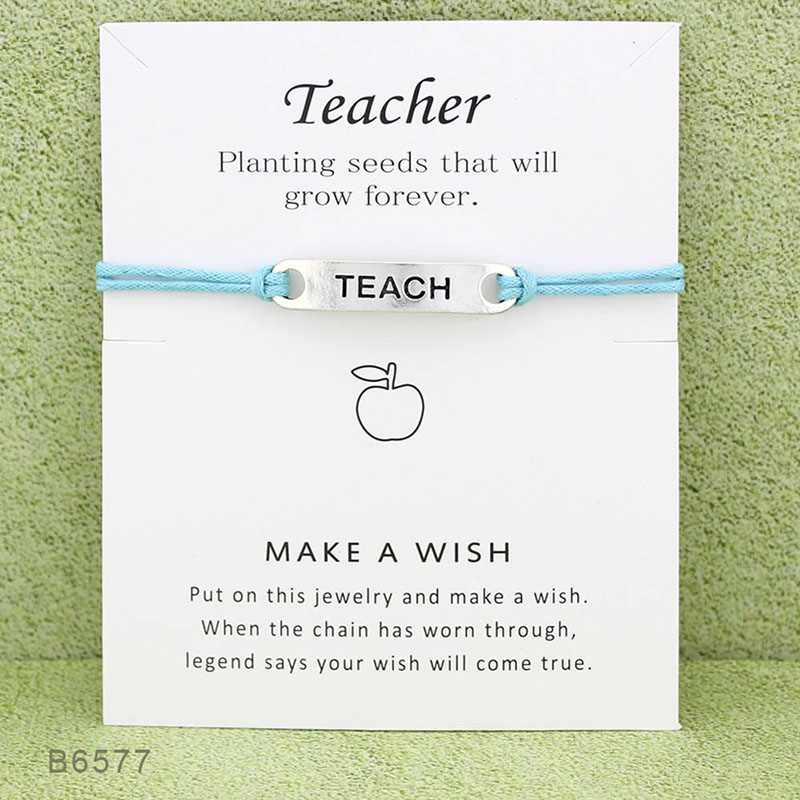 ISINYEE Fashion Teach Letter Geometric Bracelets For Women With Card Bring Lucky Rope String Bracelet Jewelry Teachers Day Gifts ...