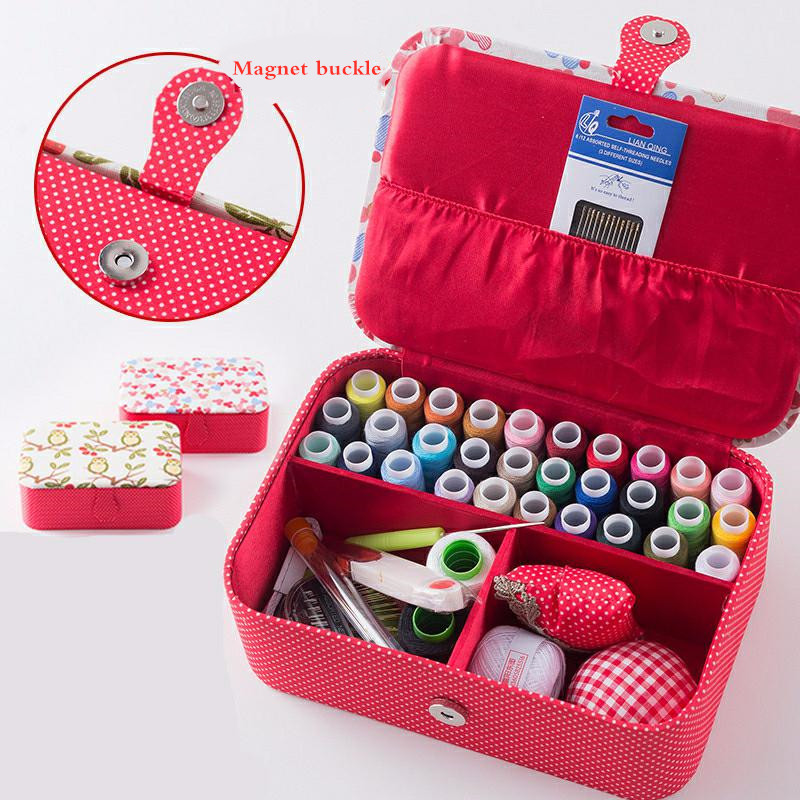 Wedding Fabric Sewing Box Home Wedding Dowry Sewing Kit 33 Stitching Needle Tape Scissor Multifunction Threads