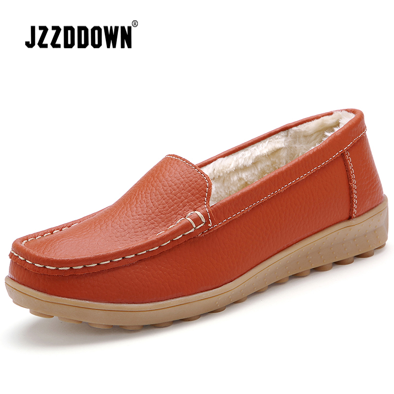 JZZDDOWN  Soft Genuine Leather flat shoes women Heel High 2.5cm women shoes flat with fur winter Ladies female shoes flatWomens Flats   -
