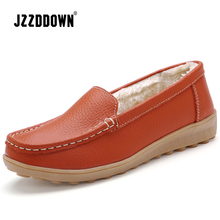 JZZDDOWN  Soft Genuine Leather flat shoes women Heel High 2.5cm women shoes flat with fur winter Ladies female shoes flat