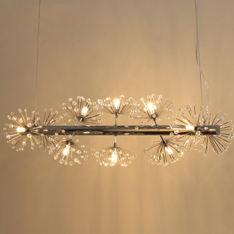 T LED European Crystal Flower Living Room Pendant Light Simple Dandelion Lamp For Dining Room Restaurant Stydy Room Bar a1 master bedroom living room lamp crystal pendant lights dining room lamp european style dual use fashion pendant lamps