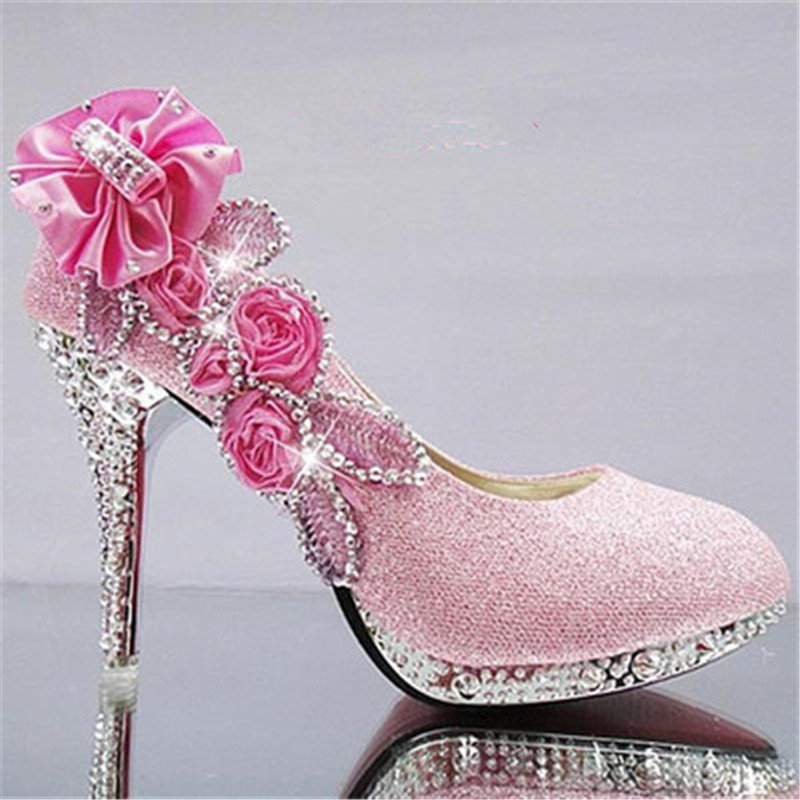 2019 Women High Heels Prom Wedding Shoes Lady Crystal