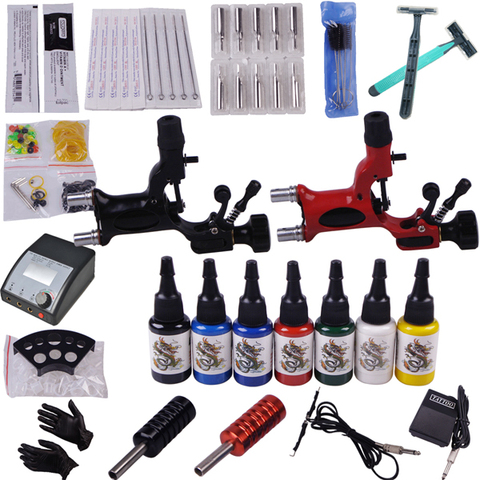 kit professional body piercing kit tattoo completa 2 top maquina de tatuagem libelula arma tatuagem