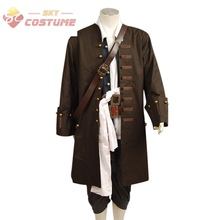Pirates Of The Caribbean Jack Sparrow  Cosplay Costume Jacket Vest Belt Shirt Pants Costume Set