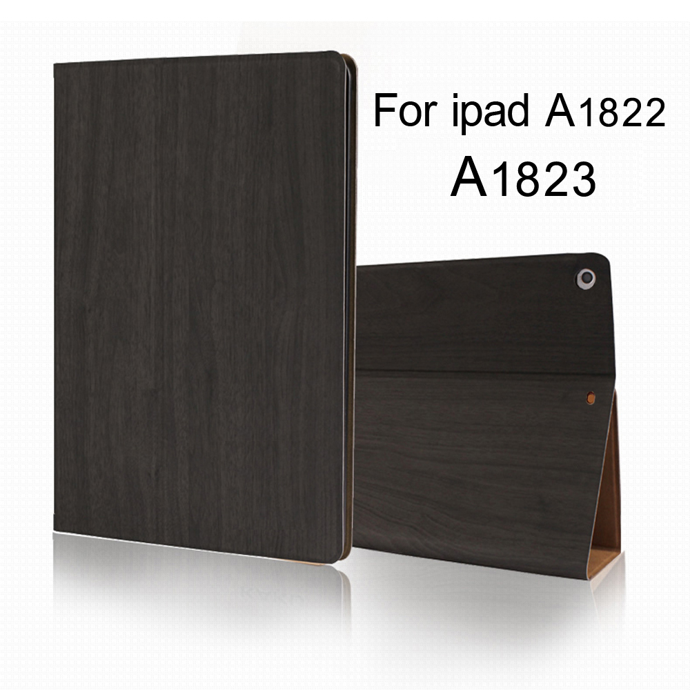 Case for iPad 9 7 inch 2017 Wood Grain Flip Ultra Thin Foldable Stand Leather Case