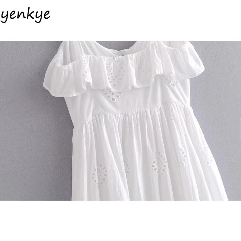 Vestido blanco perforado mujer