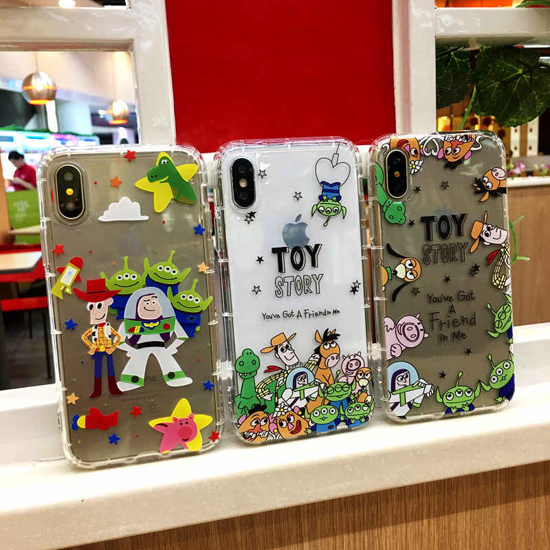 Timbul Anti-Knock Lembut TPU Cover Toy Story Alien Buzz Lightyear untuk iPhone 11 11Pro X 6 6S 7 7Plus 8 8 P X XR X Max