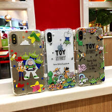 Geprägte Anti-knock Weiche TPU Abdeckung Toy Story Alien Buzz Lightyear Telefon Fall für iPhone 11 11Pro X 6 6S 7 7Plus 8 8p X XR XS MAX(China)