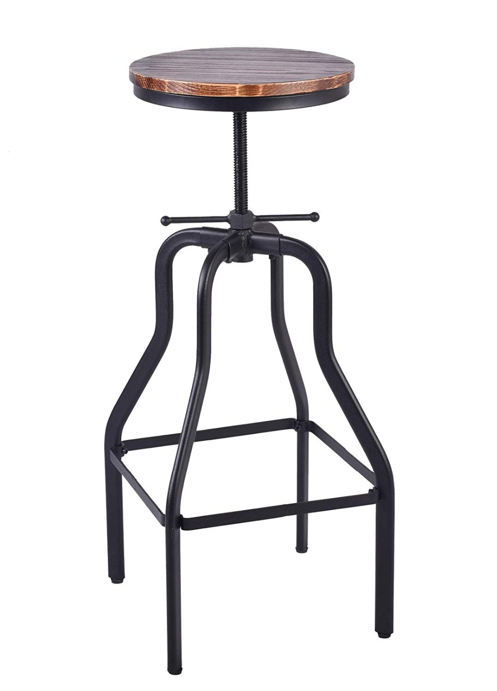 Vintage Bar Stool Round Swivel Wood Seat And Metal Height Adjustable Industrial Look Swivel Bar Chairs