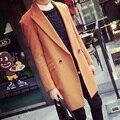 2015 Moda Outono Sólida Homens Trench Coat de Lã Dois Botões Blazer Design de Colarinho longo X-Homens Longo Casaco de Ervilha Casaco Manteau Homme
