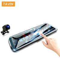 TAVIN 10 inch Touch Screen Car DVR Rear View Mirror Dash cam Full HD Front Car Camera + 1080P Back Cam Dual Lens Video Recorder