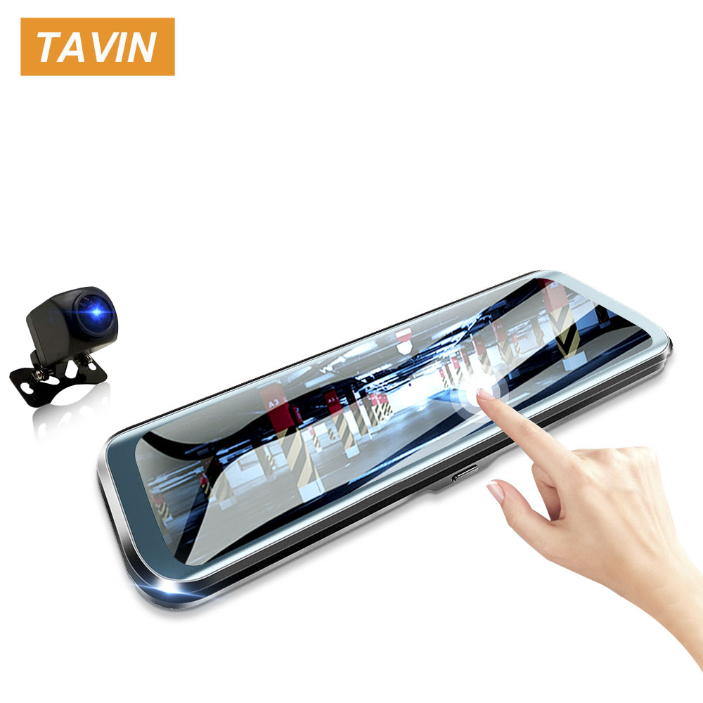 TAVIN Car DVR 10 Inch Touch Screen Rear View Mirror Dash Cam Full HD Front Car Camera + 1080P Back Cam Dual Lens Video Recorder