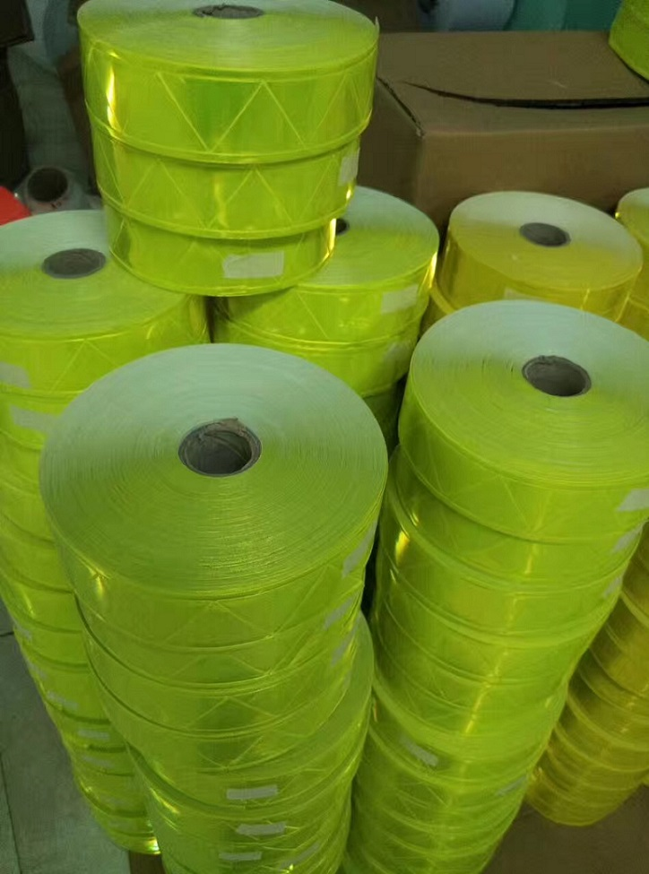 5CM*50M  Fluorescent Green PVC Reflective Strip Night Reflective Safety Warning Tape For Clothing