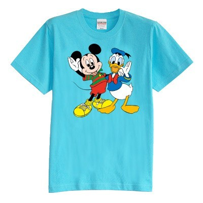 Children's T shirt summer short sleeve 100% cotton cartoon mickey and duck boy girl kid t shirt