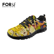 FORUDESIGNS Women Casual Sneakers Dragon Ball Z Super Prints Girls Running Shoes Comfortable Mesh Shoes Breathable Flats Shoes