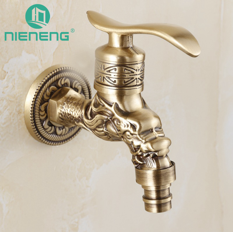 Bathroom Sinks,faucets & Accessories Bibcocks Cheap Sale Antique Bronze Dragon Carved Tap Animal Shape Faucet Garden Bibcock Washing Machine Faucet Outdoor Faucet For Garden Yt-5157-b