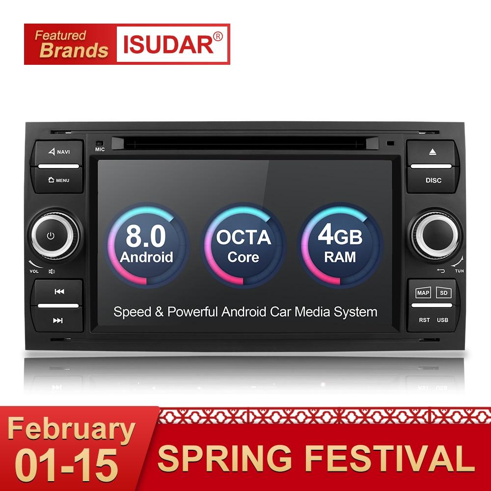 Isudar Автомагнитола 2 Din с 7 Дюймовым Экраном на Android 8.0 Для Автомобилей Ford/Mondeo/Focus/Transit/C-MAX Bluetooth DVR DSP