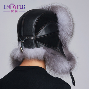 Image 3 - ENJOYFUR kış şapka kış kulaklığı erkekler gerçek fox kürk şapkalar erkekler rus ushanka kürk kulak koruyun yeterince sıcak rus kalpak bombacı şapka