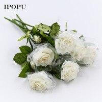 20ชิ้นชุ่มชื้นกุหลาบประดิษฐ์ดอกไม้ผ้าไหมดอกไม้ดอกไม้ยางสัมผัสจริงแต่งงานช่อแรกพรรคตกแต...