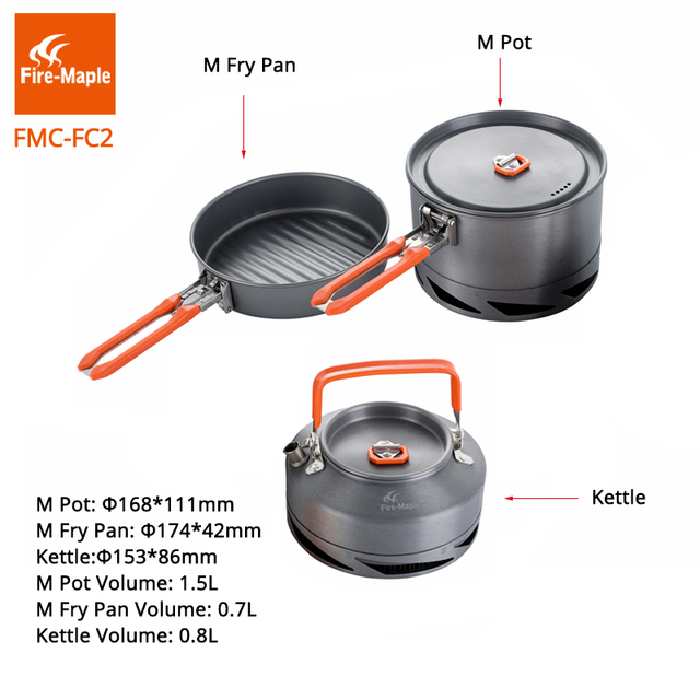 Fire Maple Camping Cookware Hiking Cooking Picnic Set Heat Exchanger Pot Pan Kettle FMC-FC2 Kitchen Utensils Outdoor Tableware