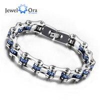 Fashion 23cm 316L Stainless Steel Bicycle Chain Blue Rhinestone Bracelets Bangles Men Jewelry Free JewelOra BA101479