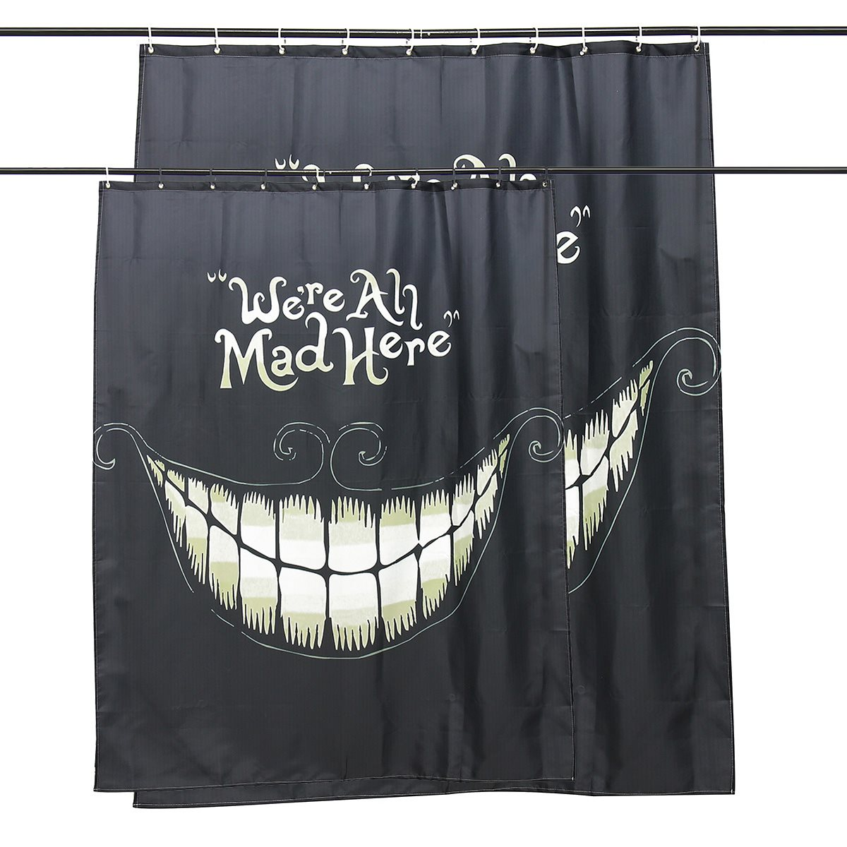 Halloween shower curtain hooks - Waterproof Halloween Party Shower Curtain We Re All Mad Here Printed Bathroom Curtain 12
