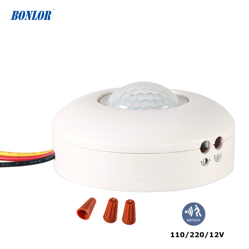 12V Motion Sensor Light Switch PIR Sensor 220V 110V Detector Movement Automatic Infrared LED Ceiling Light ON OFF With Timer