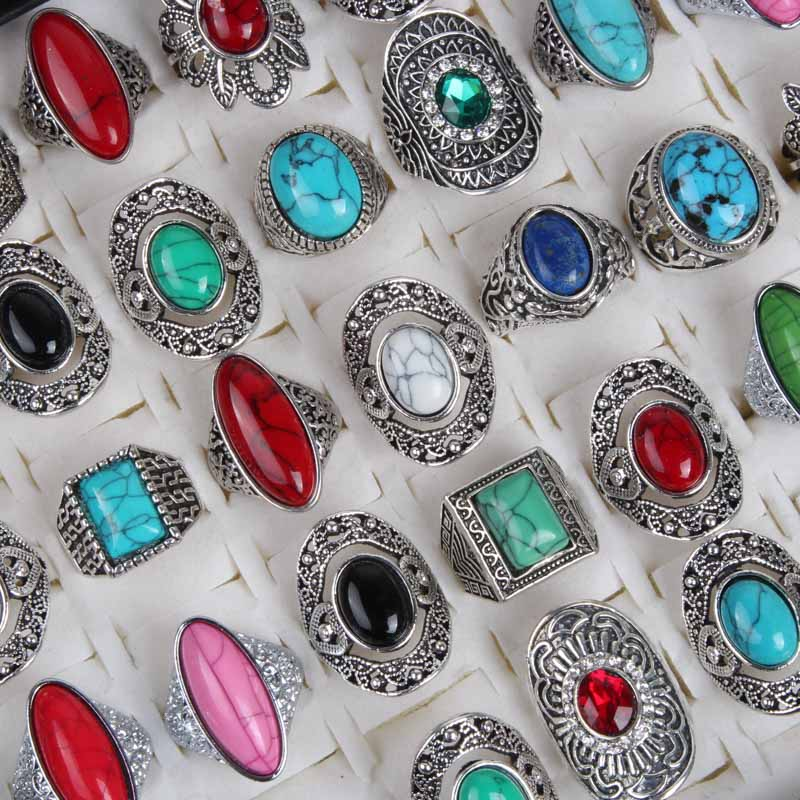 Wholesale 10pcs Mix Hot Sale Large Natural Stones Silver Rings for Mens Women New Fashion Jewelry