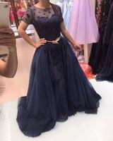 Dreagel Gorgeous Lace Appliques Royal Blue Evening Dress 2017 Fashion O Neck Sashes Formal Party Gown