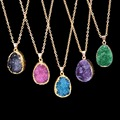 Trendy Natural Stone Quartz Crystal Waterdrop Pendant Amethyst Necklace Gold Plated Chain Women Necklace Summer Jewelry