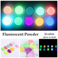 10 Neon Colors Phosphorescent FLUORESCENT Powder Glow In Dark Nail Art Acrylic Use