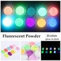 10 Pó FLUORESCENTE Neon Cores Fosforescentes Glow In Escuro Uso Da Arte Do Prego Acrílico