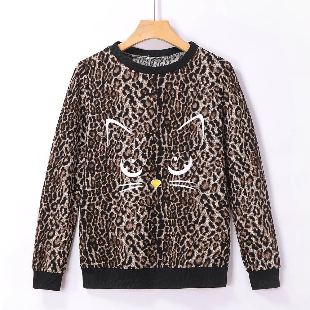 Autumn Winter Sweater Women Pullover Women Leopard Shirt Print Cat Basic Sweaters Women Round Neck Long Sleeve Blouse Tops Femme