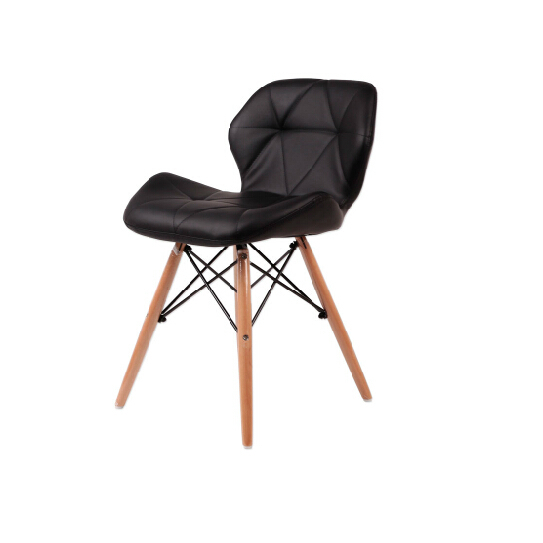Black pu leather seat beech wood legs chair for cafe and for Wood dining chairs with leather seats