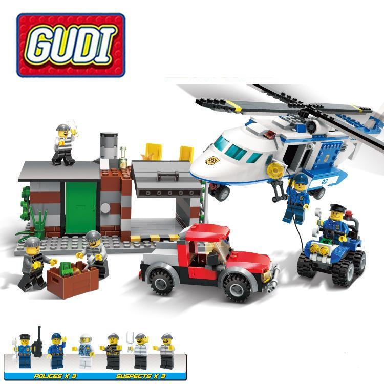 GUDI 9319 Police Patrol Helicopter 628 Pcs Mini Bricks Without Box Single Sale Assemble Building Blocks Set Toys For Children