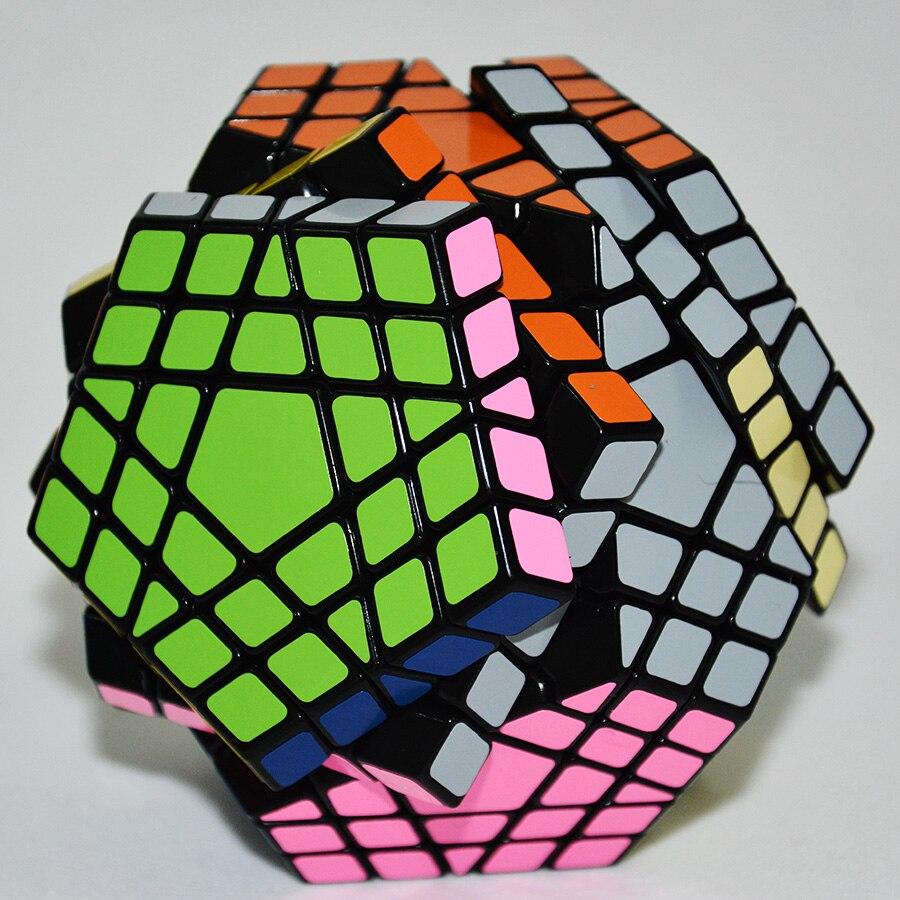 Shengshou Gigaminx Magic Cube Noir De Base avec PVC Autocollants Professionnel Magique Cube D'apprentissage jouets éducatifs - 5