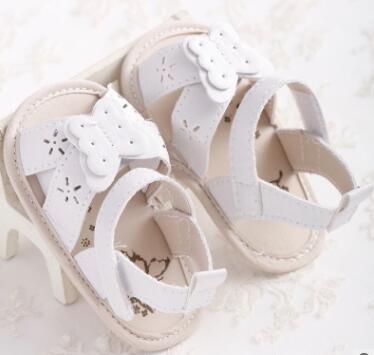 Baby Girls Sandal White Butterfly Open Toe Newborn Infant Shoes Prewalkers Little Girl Crib Shoes Christenning Wedding Summer