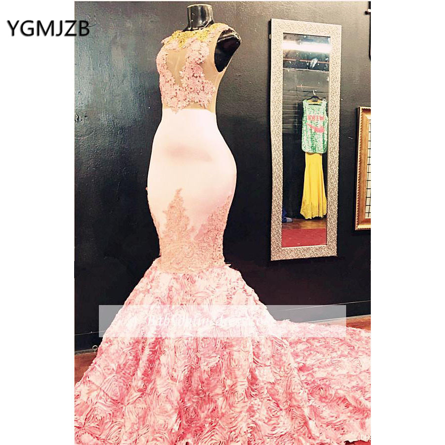 Sexy Long   Prom     Dress   2019 Mermaid Pink 3D Flowers Lace Floor Length for African Black Girls Formal Evening Party Gowns 2019
