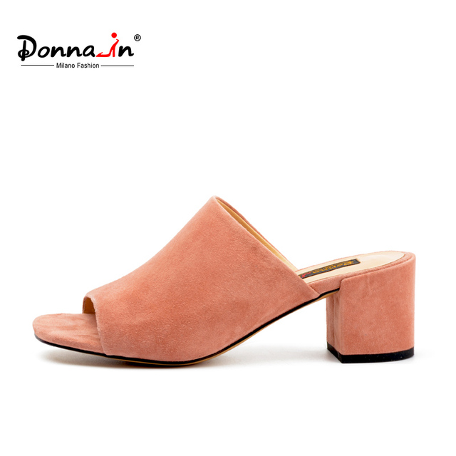 Donna-in 2017 new summer style high-heeled platform fish mouth suede women's cool simple elegance sandals