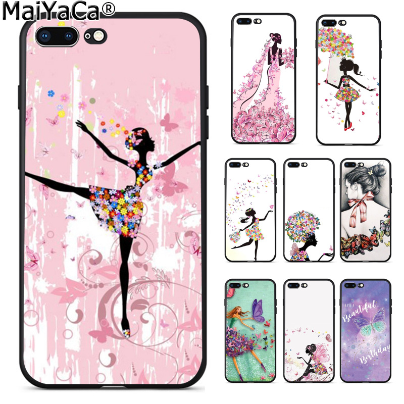 MaiYaCa бабочка Танцы девушка эффект Роскошные модные 2D телефона чехол для Apple iPhone 8 7 6 6 S Plus X 5 5S SE 5C крышка