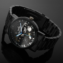 New!  Men's Watch Mechanical Watch Black Steel Brand Hollow Skeleton Dial Wristwatches