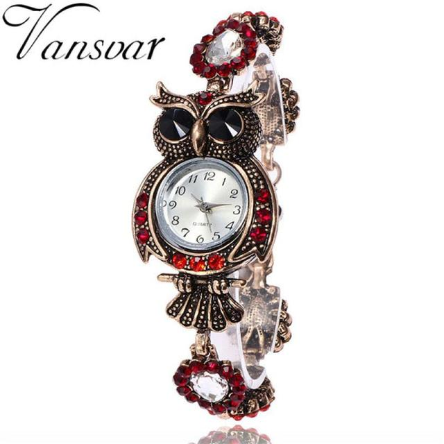 2018 Vintage Watch Women Crystal Owl Fashion Bracelet Watches Alloy Stainless St