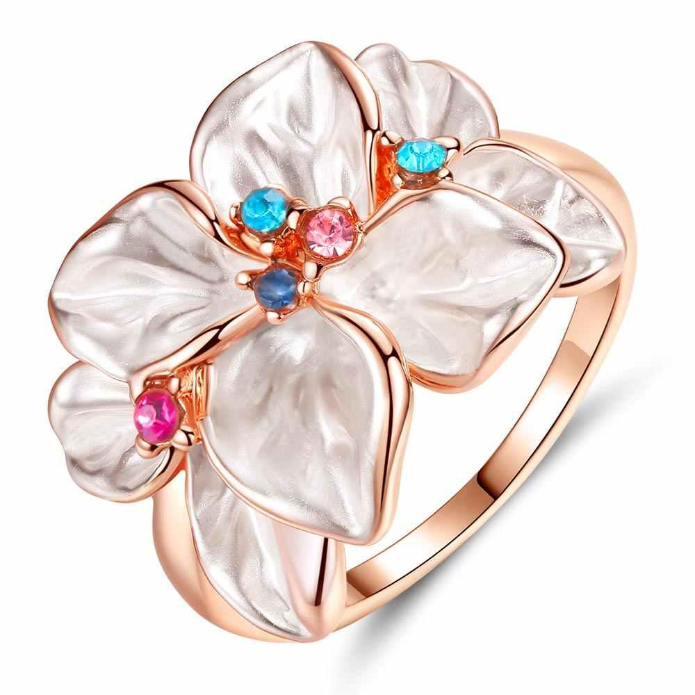 ファッション花型リング女性レディースギフトジュエリー結婚婚約指輪の約束 E06